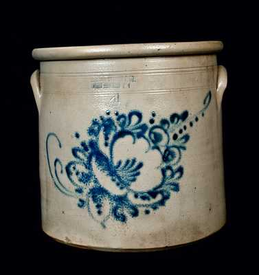 FORT EDWARD, NY Stoneware Crock with Floral Decoration, Four-Gallon