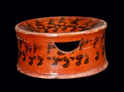 Redware Spittoon with Sponged Manganese Decoration
