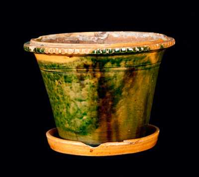 Pennsylvania Redware Flowerpot with Copper and Manganese Decoration