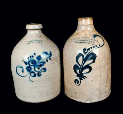 Lot of Two: One-Gallon Stoneware Jugs, One Fort Edward, NY, One w/ Boston Advertising