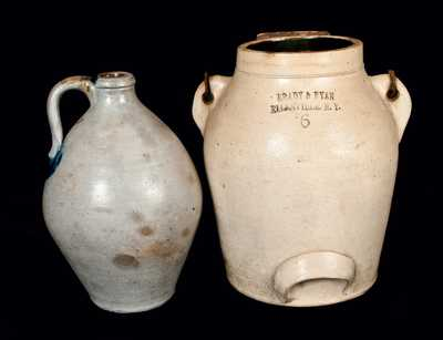 Lot of Two: Batter Pail (BRADY & RYAN / ELLENVILLE, NY) and Ovoid Stoneware Jug
