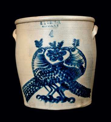 H. M. WHITMAN / HAVANA, N.Y. Stoneware Crock w/ Elaborate Double Bird Decoration