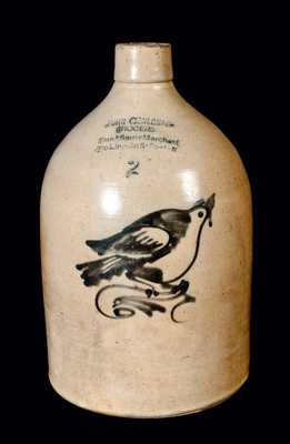 Stoneware Jug with Bird Decoration and BOSTON Advertising