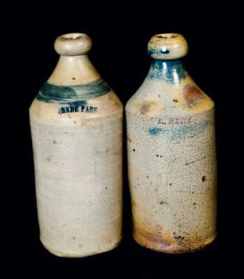 Lot of Two: Stoneware Bottles with Cobalt, One Impressed HYDE PARK