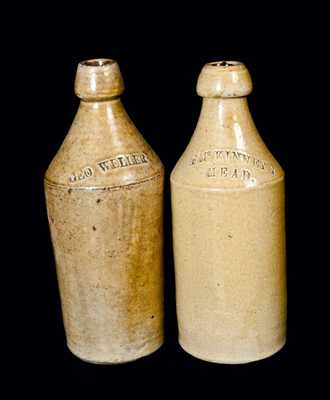 Lot of Two: Slip-Coated Stoneware Bottles with Advertising