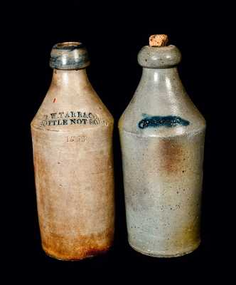 Lot of Two: Stoneware Bottles with Cobalt, One Dated 1853