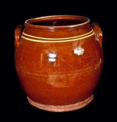 Large Ovoid Redware Jar with Yellow Slip Bands