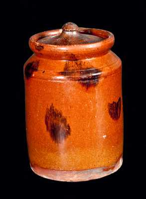 Pennsylvania Redware Lidded Jar with Manganese Splotches