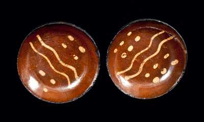 Lot of Two:  Matching Redware Slip-Decorated Dishes