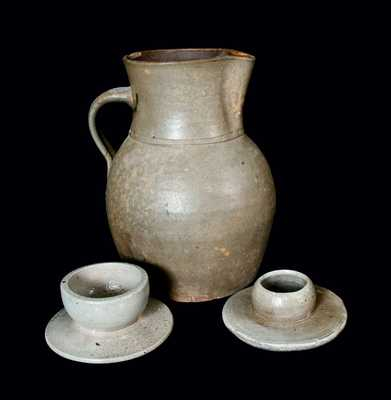 Lot of Three: Stoneware Pitcher and Small Stoneware Churn Guides