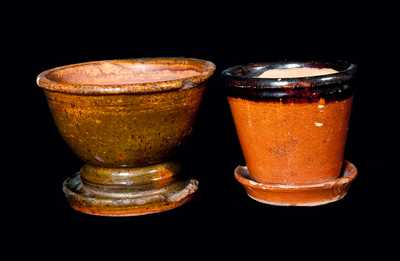 Lot of Two: Redware Flowerpots