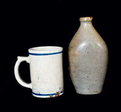 Lot of Two: Stoneware Flask and Stoneware Mug