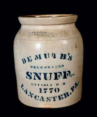 DEMUTH'S SNUFF, LANCASTER, PA Advertising Crock by F.H. Cowden (Harrisburg)