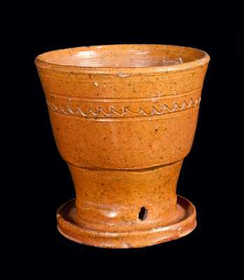 Redware Flowerpot with Attached Saucer and Incised Lines
