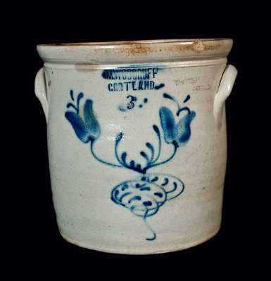 M. WOODRUFF / CORTLAND (New York) Stoneware Floral Decorated Crock