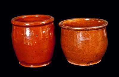 Lot of Two: Small Lead-Glazed Redware Cream Jars