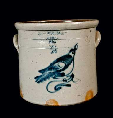 Stoneware Crock with Bird Decoration and Athol, MA Advertising