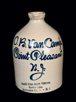 New Jersey Stoneware Script Syrup Jug w/ CASE'S PURE CIDER VINEGAR Impressed at Base