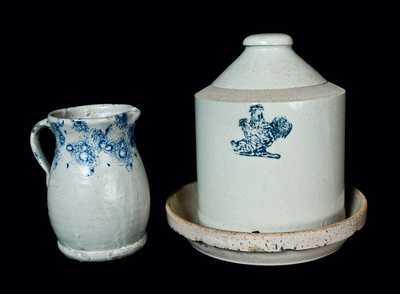 Lot of Two: Spongeware Pitcher and Bristol Slip Stoneware Chicken Waterer with Stenciled Chickens