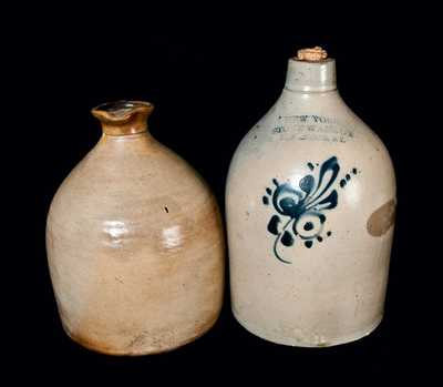 Lot of Two: New York Stoneware Co. Jug and Stoneware Syrup Jug
