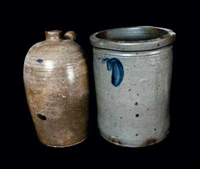Lot of Two: Strasburg, VA Stoneware incl. Eberly Jug and Hickerson Crock