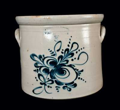 OTTMAN BROS / FORT EDWARD, NY Stoneware Crock with Floral Decoration