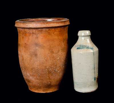 Lot of Two: Stoneware Bottle Impressed J. W. THOMAS and Redware Cream Jar