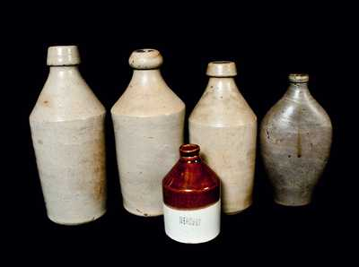 Lot of Five: Assorted Stoneware Bottles