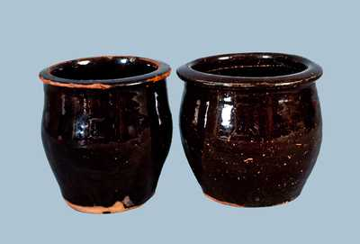Lot of Two: C. LINK (Exeter, PA) Redware Jars