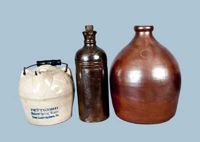 Lot of Three: Including Poughkeepsie, NY Stoneware Jug and Cambridgeboro, PA Spring Water Jug