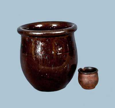 Lot of Two: Redware Jars, One Miniature