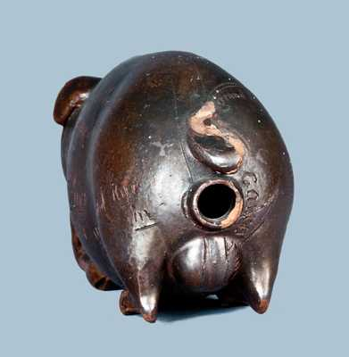 Outstanding Anna Pottery Pig Flask with Corn Cob in Mouth