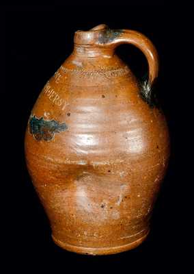 WARNE / S. AMBOY N. JERSY (NJ) Stoneware Jug w/ Coggled and Impressed Designs