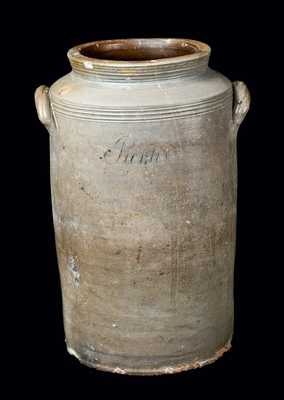 Very Rare Crolius (Manhattan) Stoneware Handled Jar Incised