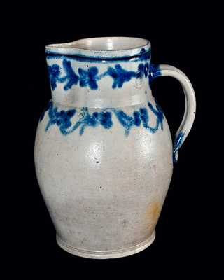 Rare and Important H. REMMEY / BALTIMORE Stoneware Pitcher w/ Slip-Trailed Floral Decoration