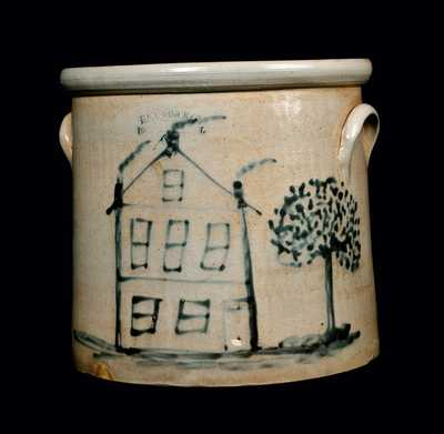 Exceptional HAXSTUN & CO. / FORT EDWARD, NY Stoneware Crock w/ House Decoration