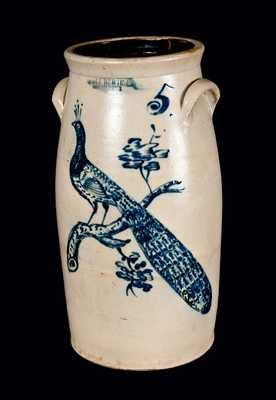 Exceptional JOHN BURGER / ROCHESTER, NY Stoneware Churn with Peacock