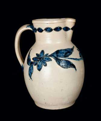 Outstanding Incised Stoneware Pitcher, Henry Remmey, Philadelphia, 1856