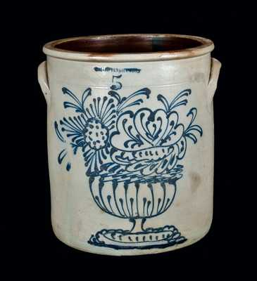 Five-Gallon WHITES BINGHAMPTON Stoneware Jar with Slip-Trailed Floral Compote