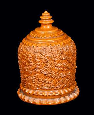 Glazed Redware Bank with Elaborate Form, American, possibly Galena, IL, second half 19th century