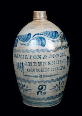 Unusual HAMILTON & JONES, / GREENSBORO, / GREEN CO. PA Stoneware Jug