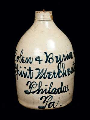 Philadelphia, PA Stoneware Advertising Jug