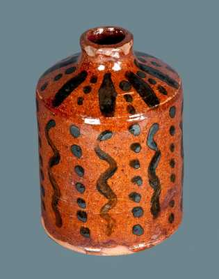 Exceptional Slip-Decorated Redware Ink Bottle