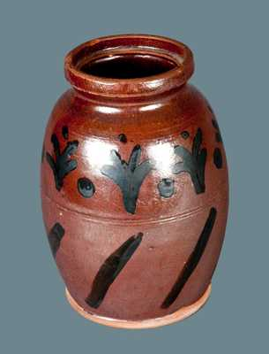 Rare Slip-Decorated Redware Jar, American, early to mid 19th century