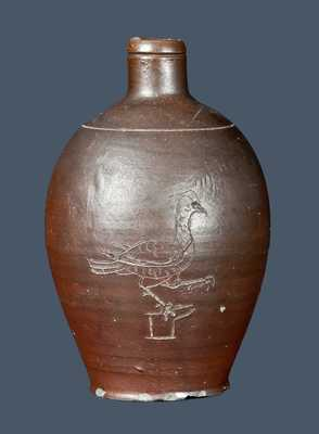 Rare Diminutive North Carolina Stoneware Jug with Incised Game Bird Decoration