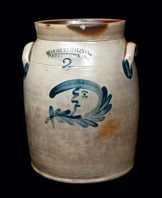 COWDEN & WILCOX / HARRISBURG, PA Stoneware Man-in-the-Moon Crock