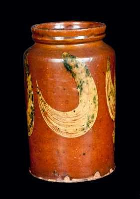 New England Redware Jar with Yellow and Green Decoration