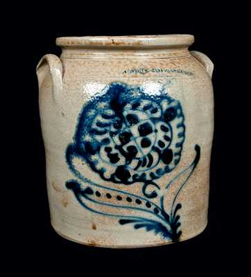 N. WHITE & CO / BINGHAMTON Stoneware Jar with Cobalt Floral Decoration