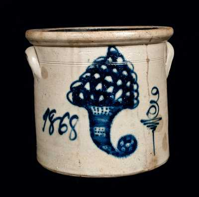 Outstanding GEDDES, NY Stoneware Crock with Cornucopia