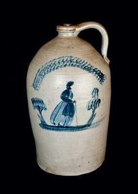 Rare Uniontown, PA Three-Gallon Stoneware People Jug